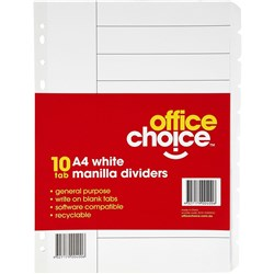 OFFICE CHOICE A4 DIVIDERS (D) 10 Tab Manilla White