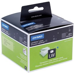 DYMO LABELWRITER LABELS ADDRESS 36X89MM CLEAR Box of 260 Labels