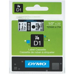 DYMO D1 TAPES 12MMX7M BLACK ON CLEAR