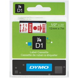 DYMO D1 TAPES 12MMX7M RED ON WHITE *** DISCONTINUED ***