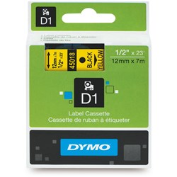 DYMO D1 TAPES 12MMX7M BLACK ON YELLOW