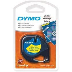 DYMO LETRATAG LABELLING TAPE 12MM X 4M YELLOW PLASTIC