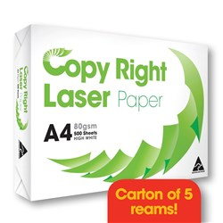 COPY RIGHT LASER PAPER A4 White Copy Paper - 80gsm Carton of 5 Reams