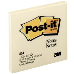 POST IT NOTE 3M 76 X 76MM YELLOW 654