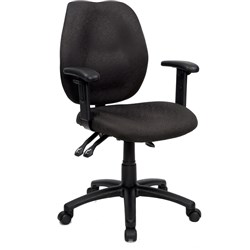 OFFICE CHOICE DURBAN CHAIR HIGH BACK WITH ARMS BLACK FABRIC