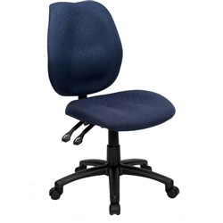 OFFICE CHOICE DURBAN CHAIR HIGH BACK WITHOUT ARMS BLUE FABRIC